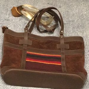 BOHO Leather Tote - Bolivian Made - LEATHER & WOOL
